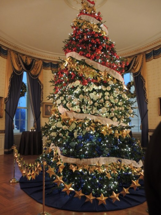 The red, white, and blue Christmas tree in the Blue Room