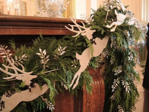 Flying reindeer on the East Room's mantel