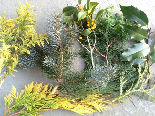 We use a wide variety of fresh evergreens