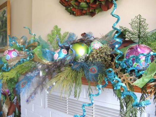 Mantel in cobalt blues, teal, and lime green