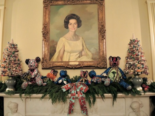 The Vermeil Room with Lady Bird Johnson portrait was decorated with a teddy bear theme in 2015
