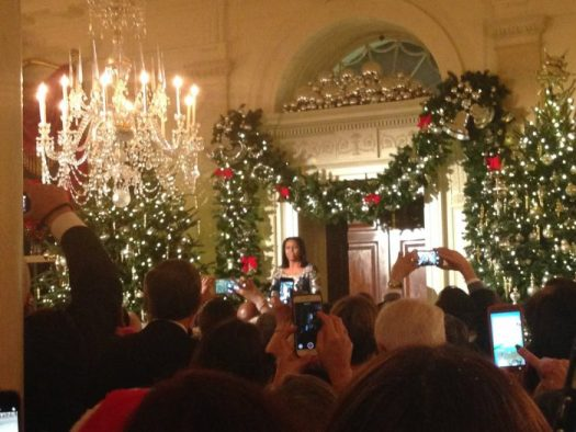 Michelle Obama greets and thanks all the volunteers at the volunteer recepetion