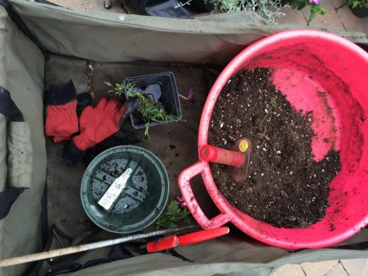 My set up in a rolling cart; red West County gloves, trug and soil knife