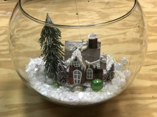 Bubble bowl with fake snow and putz house