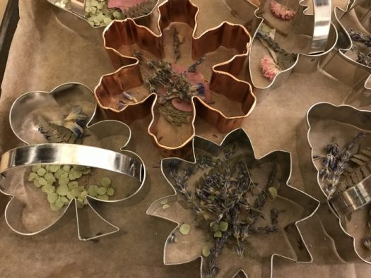 Cookie cutters on parchment paper with dried flowers in bottom