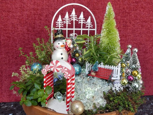 A seasonal holiday miniature garden