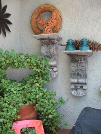 More vertical space used for found objects and plants