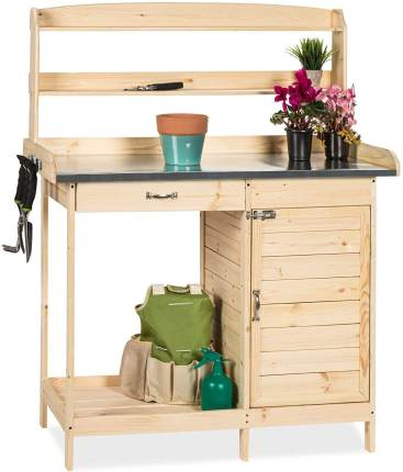 BEst Choice Wood Potting Bench with Metal Tabletop