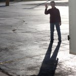 Too cute: Caleb and his shadow posing in the Fergus Falls hotel parking lot (Nov. 14th)