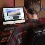 Ben busy with audio engineering.