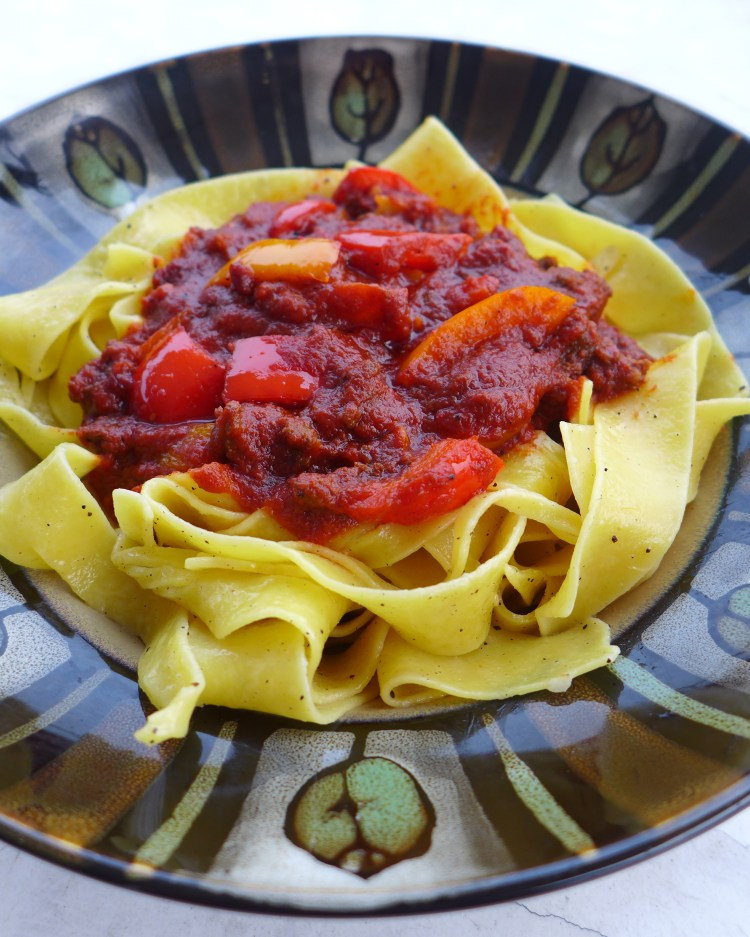 Vancouver Stoner Pasta with bell peppers and ras al hanout