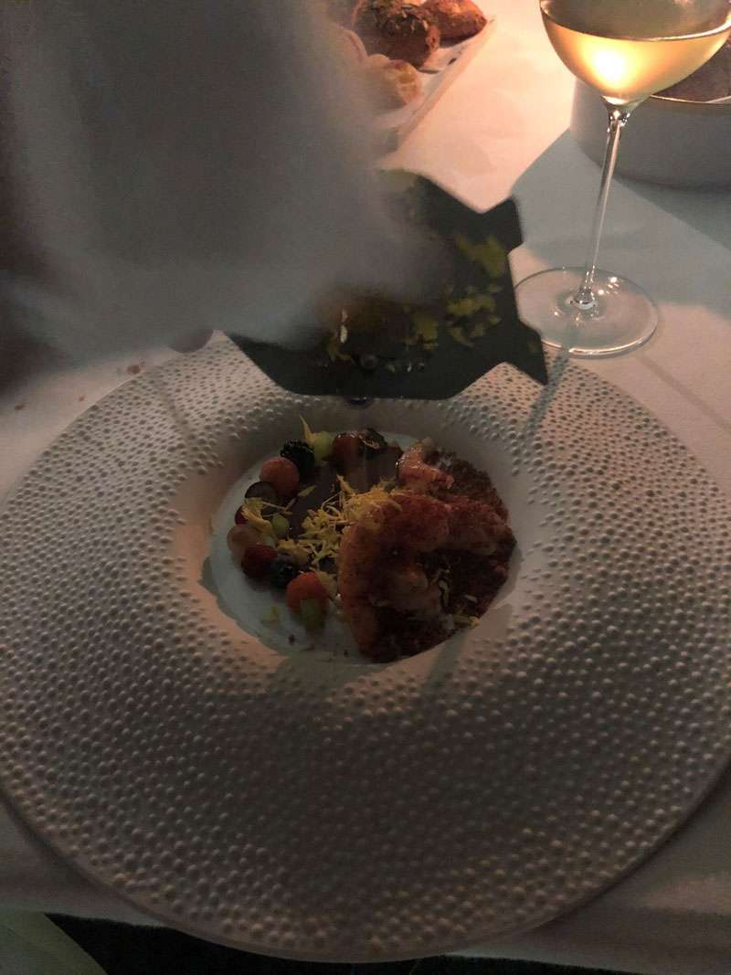 Lobster and scampi with berries from Etna