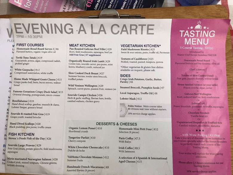 Evening a la carte menu