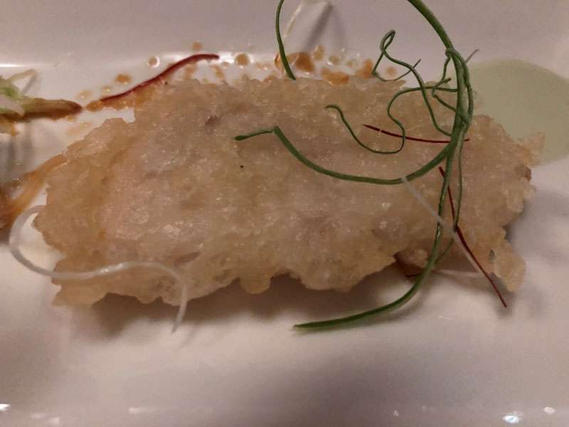 The tempura was very light and the snapper superb