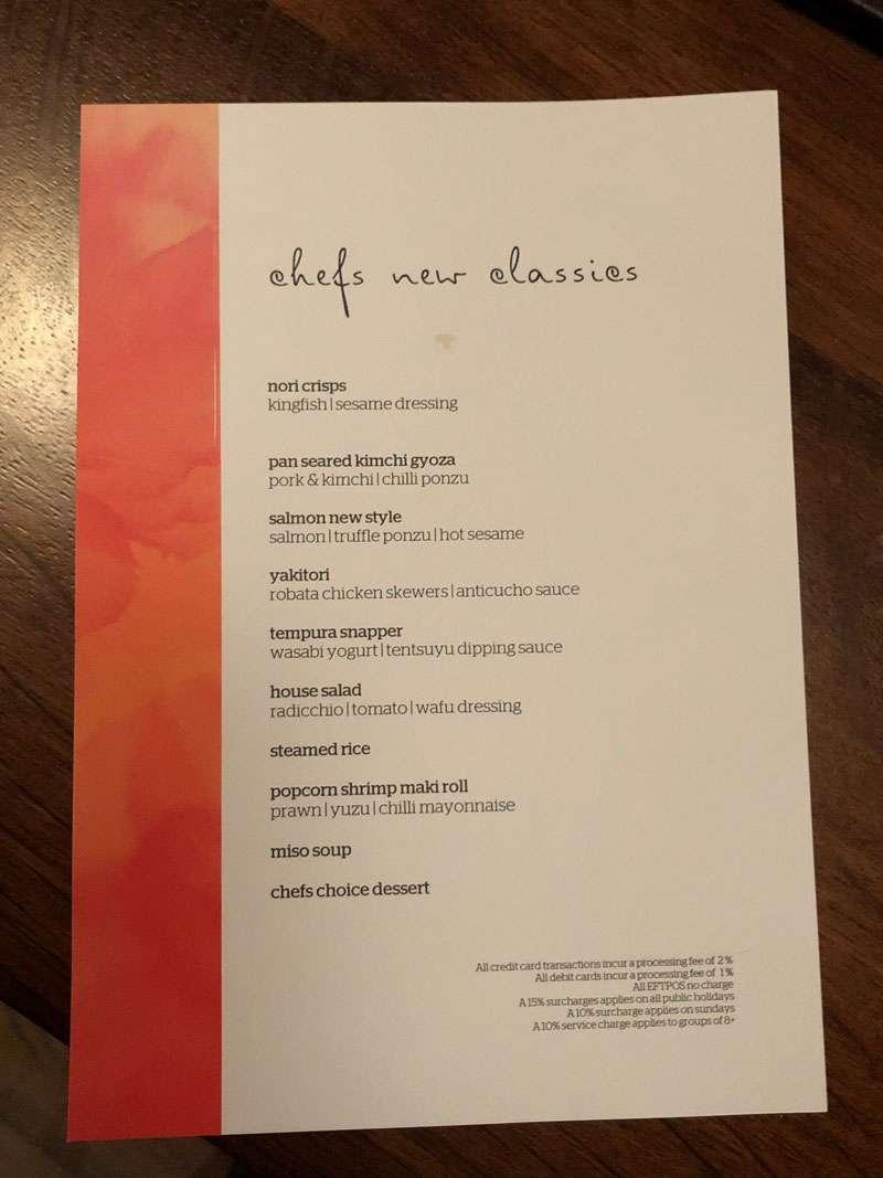 The Chef's New Classics Menu