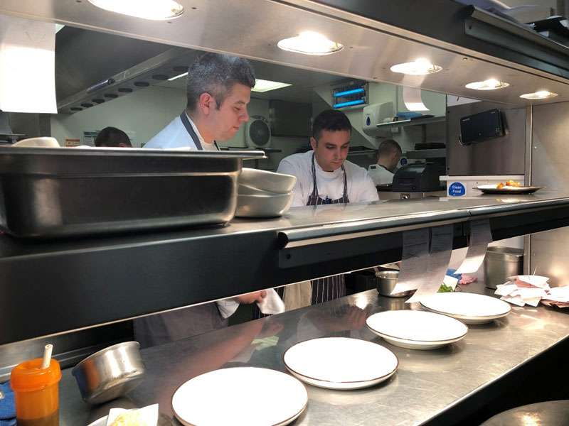 Executive chef Pete Grey at the pass in the kitchen