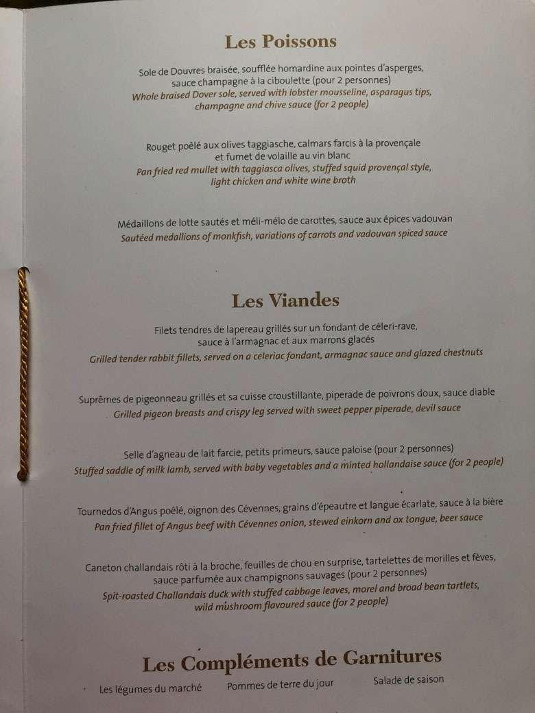 Fish and meat menus