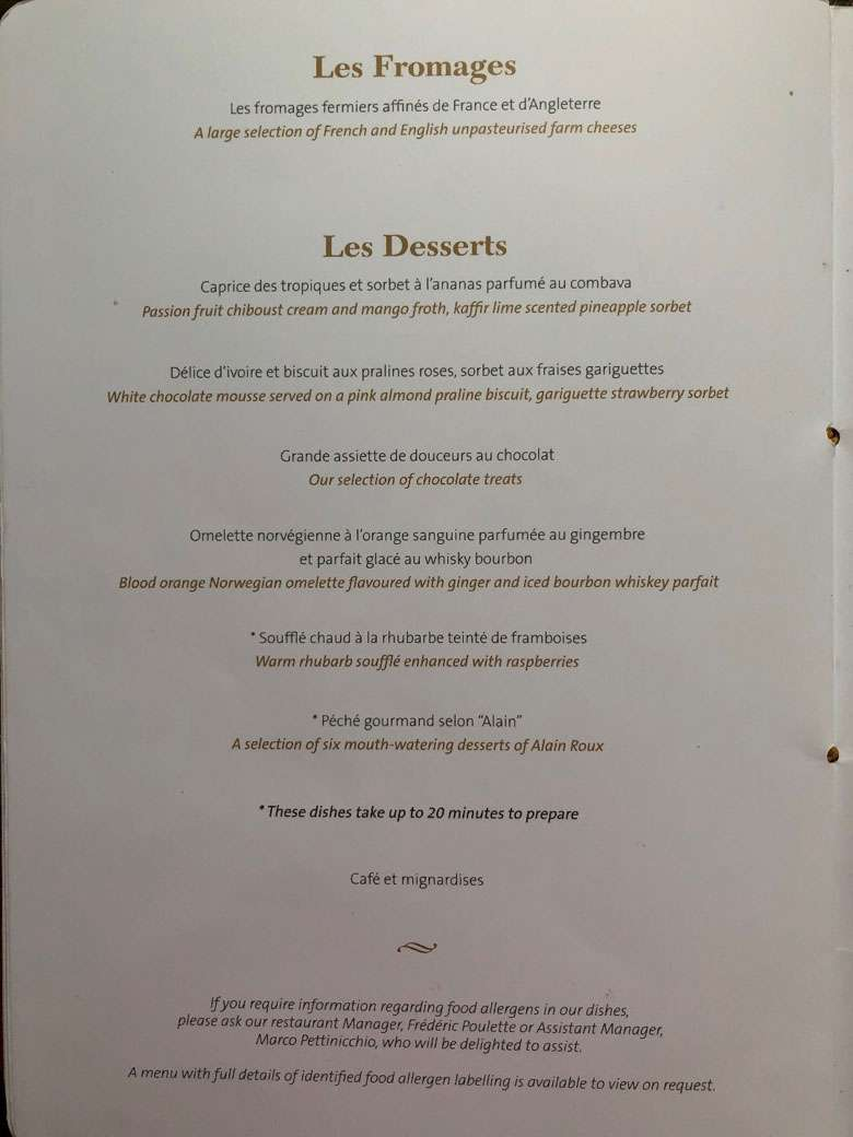 Cheese and dessert menus