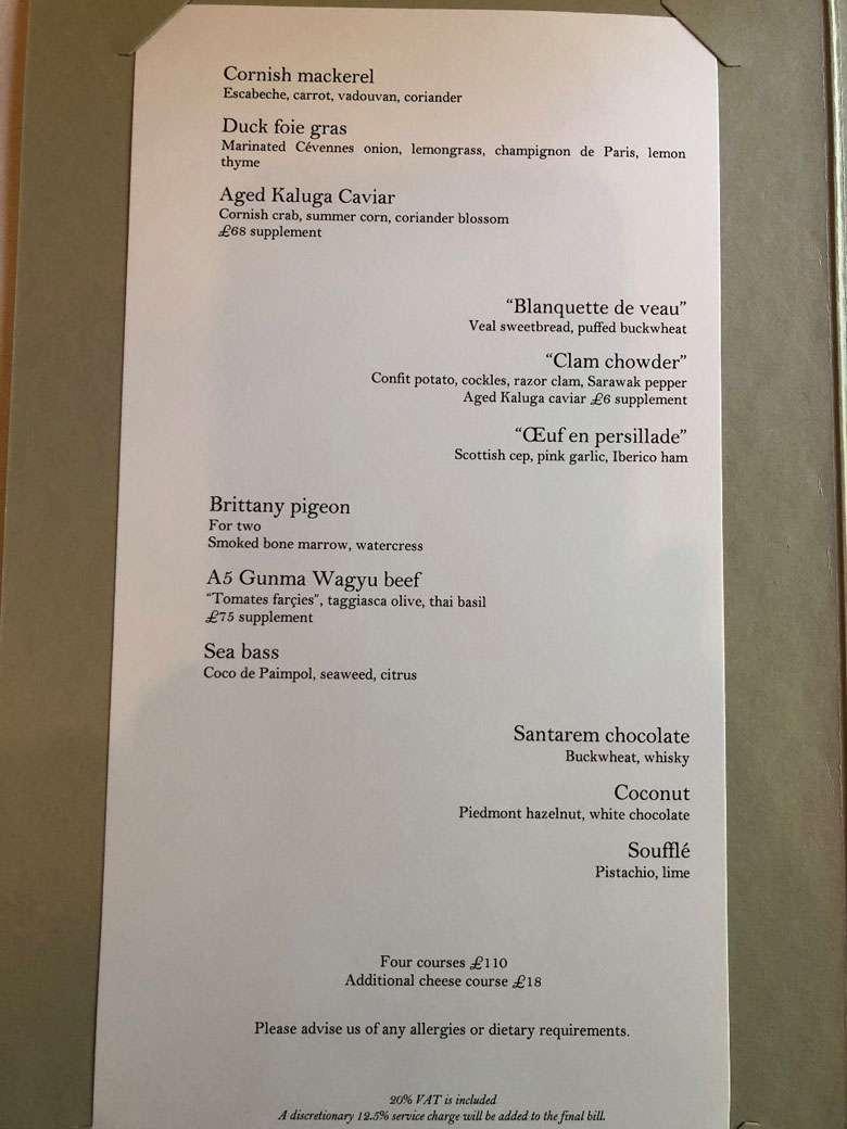 The a la carte menu