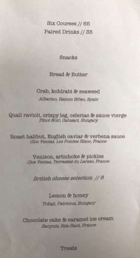 The 6-course tasting menu