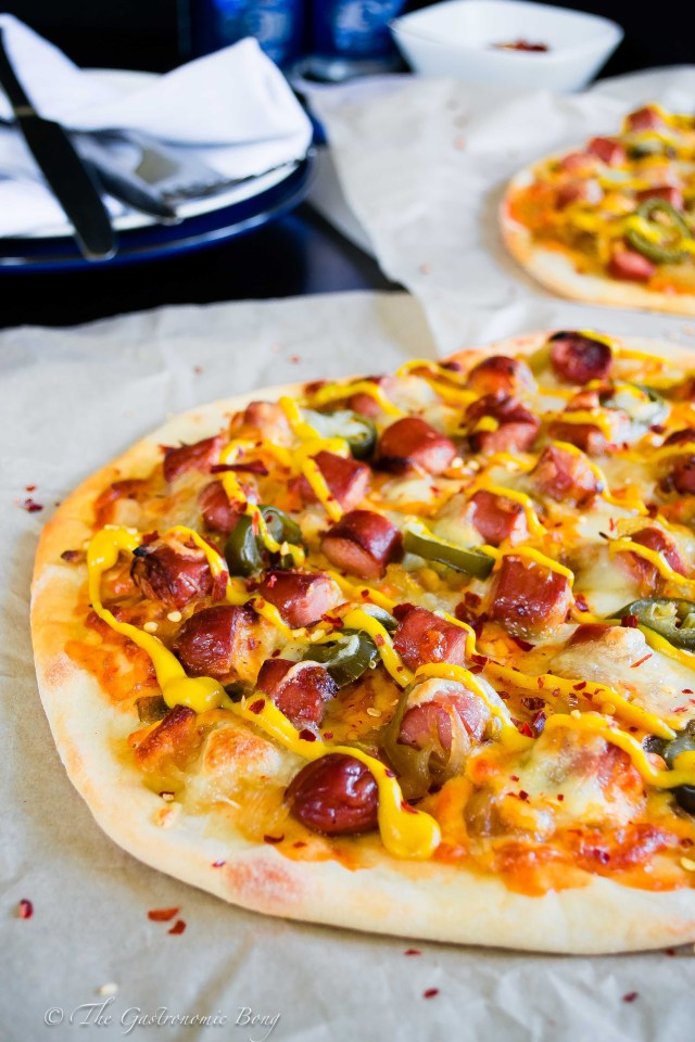 Easy-Peasy Hotdog Pizza with Caramelised onion and Jalapenos4