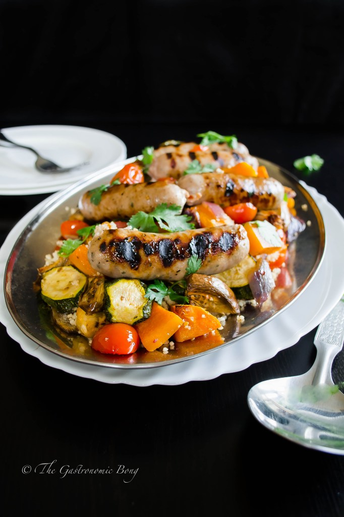 Summer Vegetables and Honey-Glazed Sausages with Couscous2