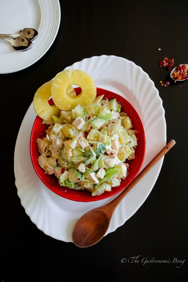 potato salad with chicken, apple and pineapple