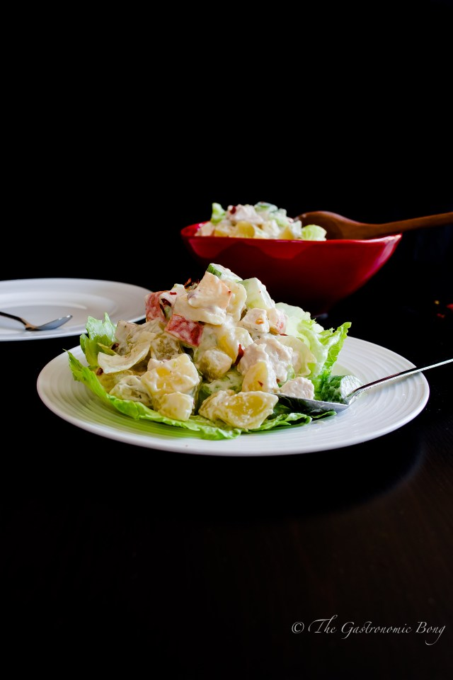 potato salad with chicken, apple and pineapple3