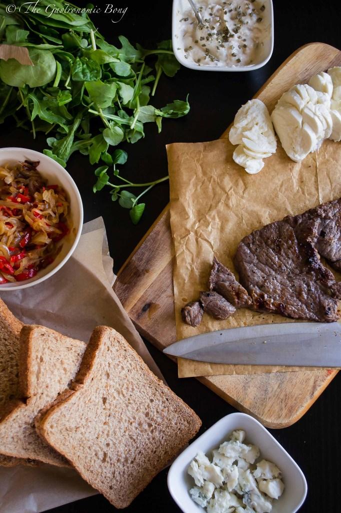 Grilled Steak Sandwich with Gorgonzola and Mozzarella Cheese