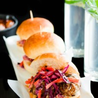 Oriental Meatball Sliders with Kimchi Slaw and Hoisin Mayonnaise