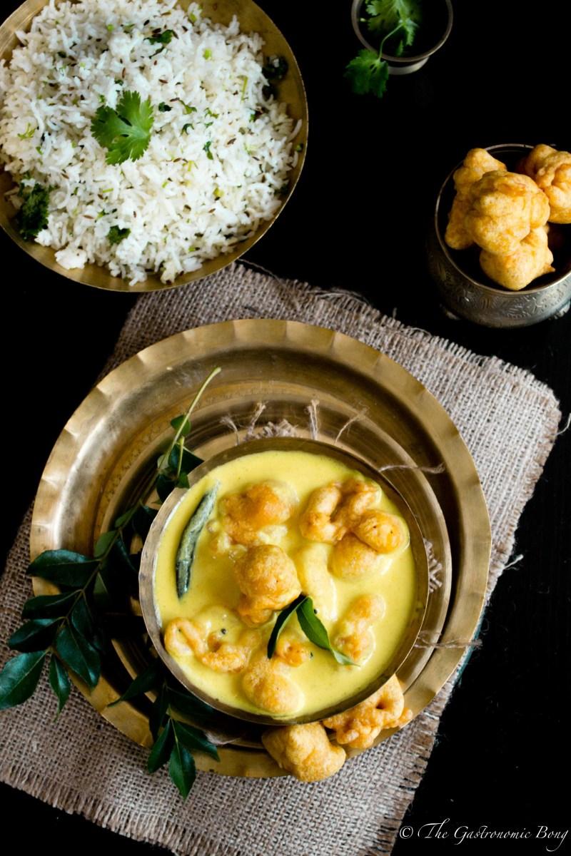 Yogurt Curry With Gramflour Fritters and Cumin Rice - Kadhi Pakora and Jeera Rice
