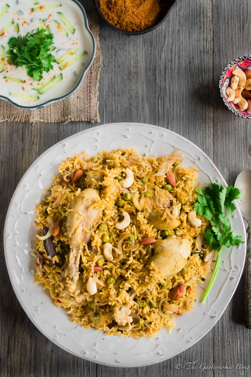 Chicken and Peas Pulao With Sweet-Spicy Cucumber Raita