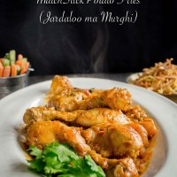 Apricot Chicken Curry With MatchStick Potato Fries (Jardaloo Sali Murghi)