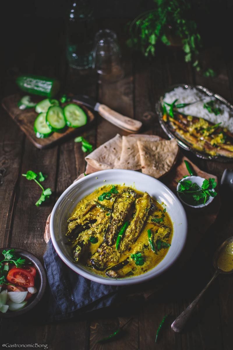 Doi Begun (Eggplants cooked in Spiced Yogurt)