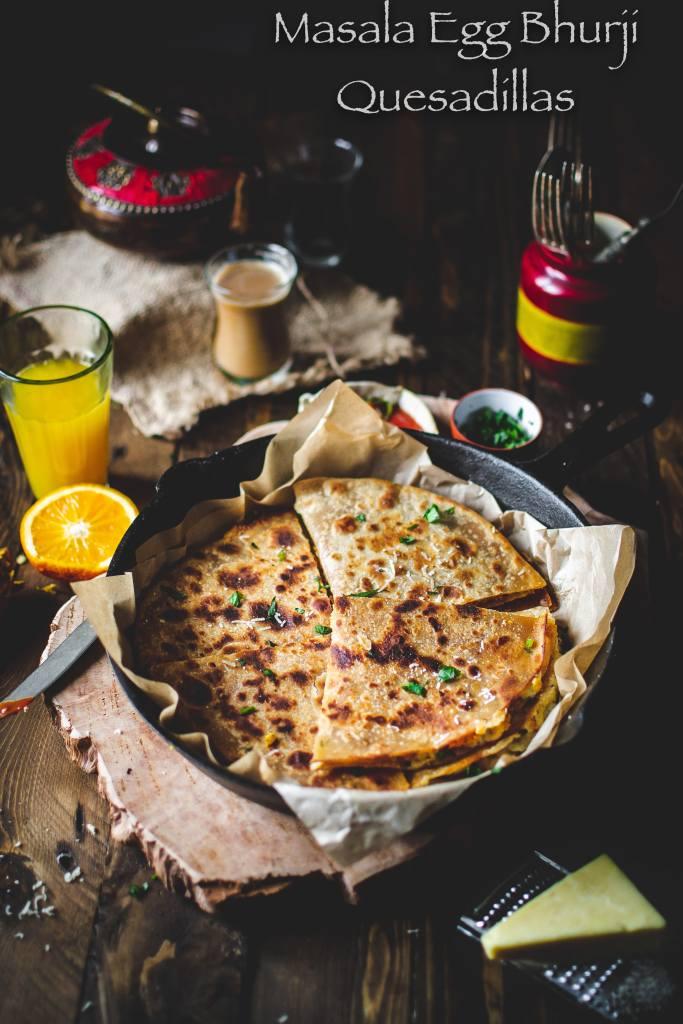 Indian style egg quesadillas