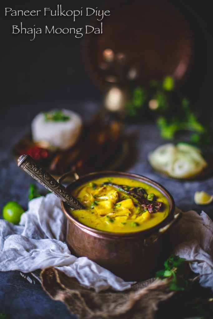 roasted moong dal with paneer and cauliflower