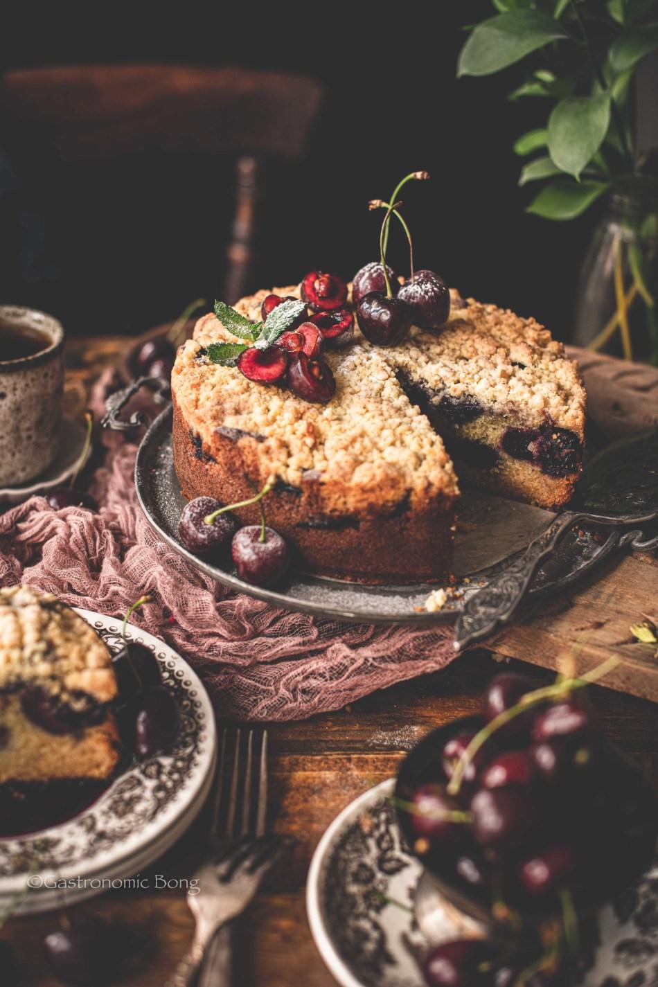 Cherry cardamom crumble cake recipe