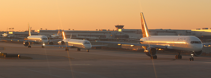 Airplanes on taxiway