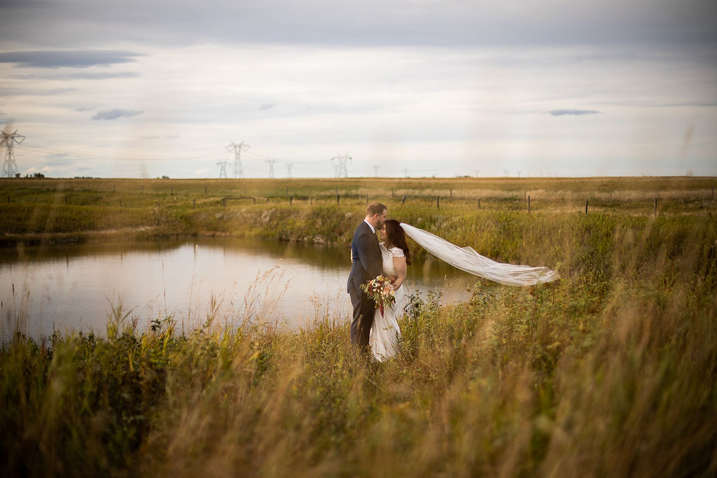 prairie fields surround a pond of water, a couple stands beside the water while the groom kisses the brides forehead. Her veil blows in the prairie wind. . www.thegathered.ca