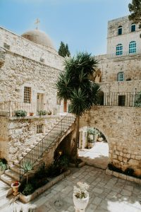 Green Palm Tree in Stone Courtyard - Photo by Katie Evensen at Pexels