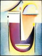 Abstract Head : Original form, 1918, Oil on board mounted on panel, Private collection.
