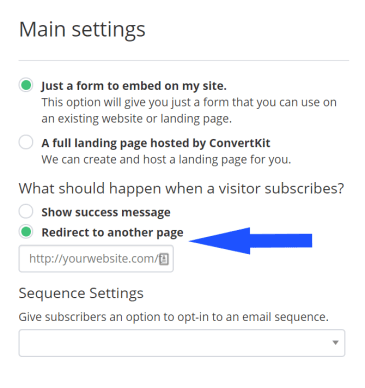 convertkit how to set email landing page after subscription