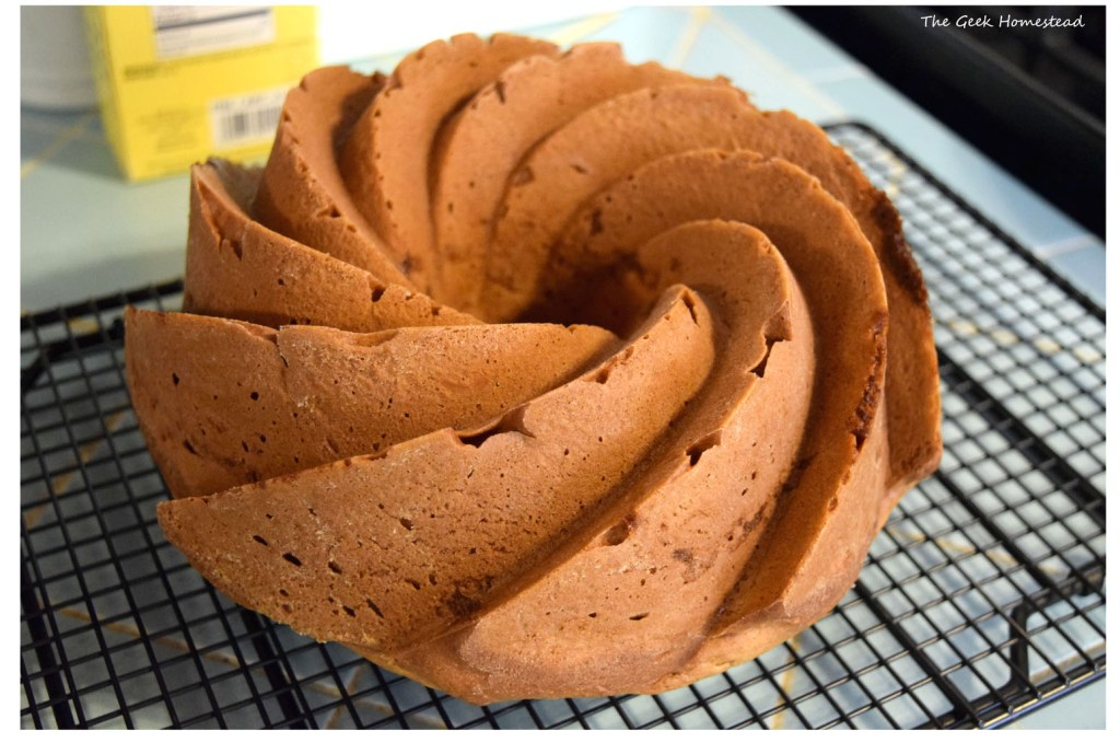 baked bundt cake out of the pan