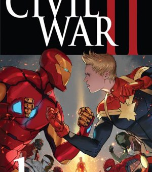 Iron Man and Captain Marvel fight in Civil War II
