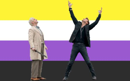 Crowley and Aziraphale with a nonbinary flag background