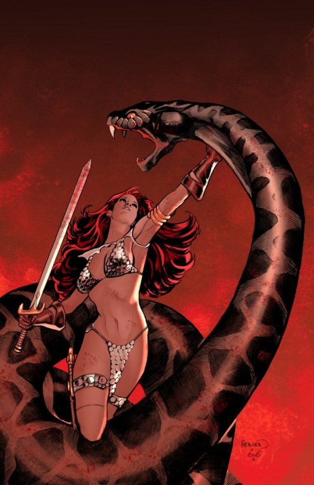 Red Sonja fights a giant snake by Paul Renaud