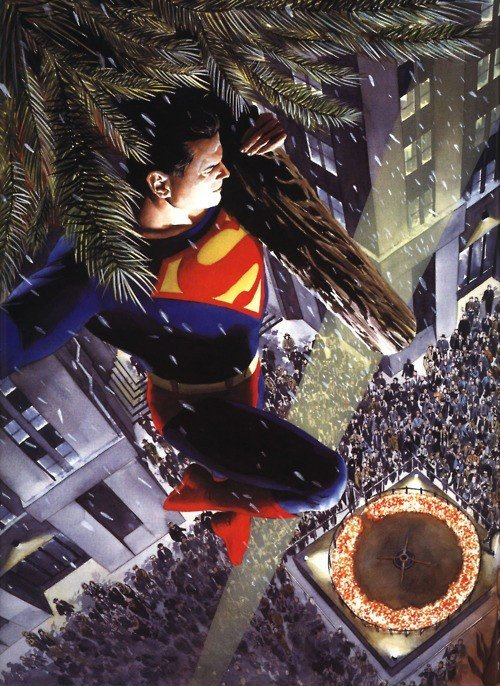 Superman brings the Christmas Tree by Alex Ross