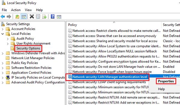 Modify Network Security Settings
