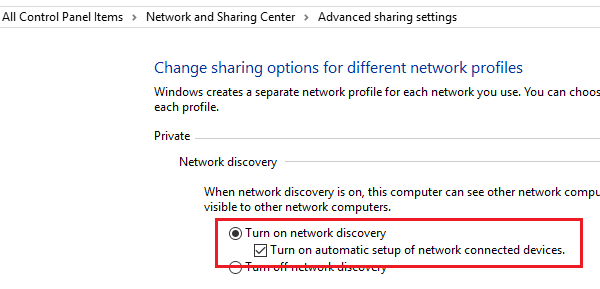 Turn On Automatic Setup On Network Connected Devices