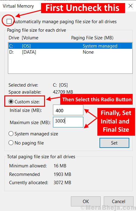Virtual Memory Set Size Min (1) New Min